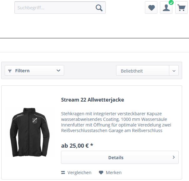 So sieht der neue Online-Shop des FV Preußen bei 11teamsports aus!